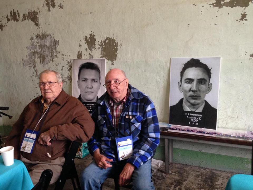 Former Alcatraz inmates Robert Luke (left) and Bill Baker with their prison mugshots.
